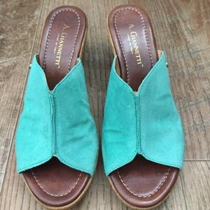 A. Giannetti Shoes - Cute Aqua blue suede  leather clogs