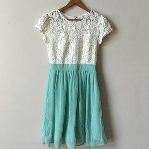 Ivory lace and mint chiffon dress