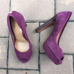 Coach suede platform heels!