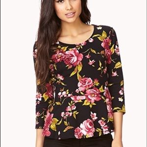 Forever 21 Floral peplum top