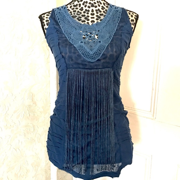 Anthropologie Tops - Mur Mur Anthropologie Blue Fringed Crotchet Top