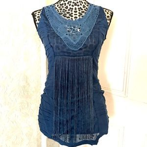 Mur Mur Anthropologie Blue Fringed Crotchet Top
