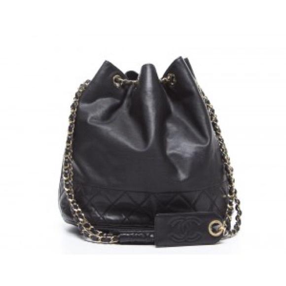 20f5460c9587 CHANEL Bags | Black Lambskin Drawstring Bucket Bag | Poshmark
