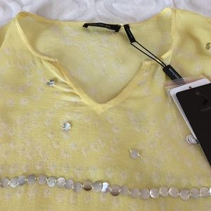 Daisy Fuentes Tops - Sheer flowing blouse w. large sequins