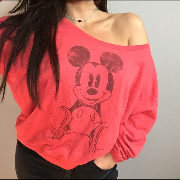53eb1220 Disney Tops | Mickey Mouse Red Off The Shoulder Pullover | Poshmark