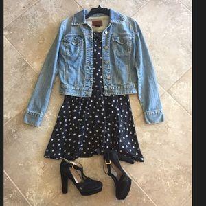 Material girl black/white white polka dot dress M