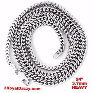 3 Royal Dazzy Other - Heavy 925 Silver Square Franco Chain- 3.7 mm - 24""