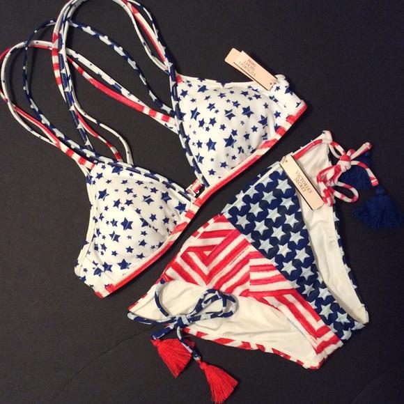 Nwt Victorias Secret Stars /& Stripes Americana High Neck Halter Bikini Top M