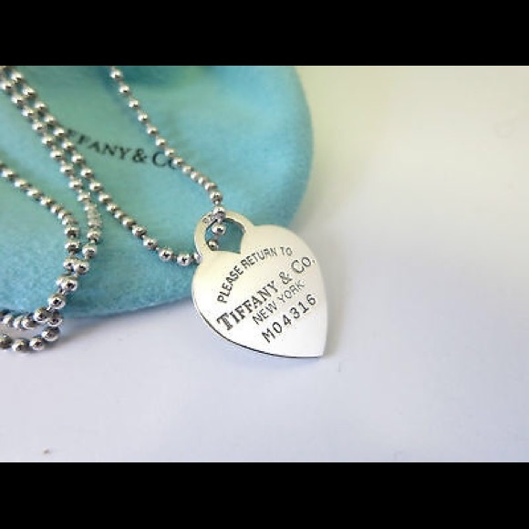 ce7a22c31 Tiffany long chain silver heart dog tag necklace. M_57f2ddb6bf6df58d4d02050b