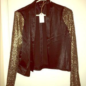 Jackets & Blazers - Sequin Sleeve Black Blazer