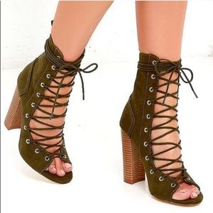 Olive Swede Lace up Booties