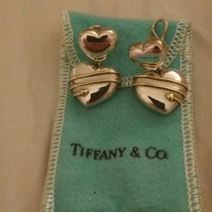 Tiffany & Co. Silver and 18k gold heart earrings