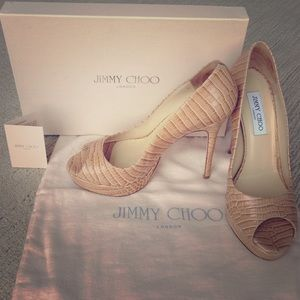 Jimmy Choo Shoes - Glossy Mock Croc Jimmy Choo peep toe pumps in nude