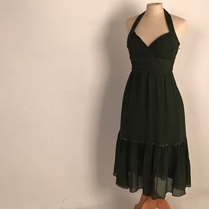 NWOT BCBG Max Azria halter dress dark green