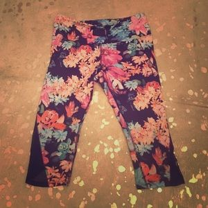 Navy blue floral leggings with mesh detailing