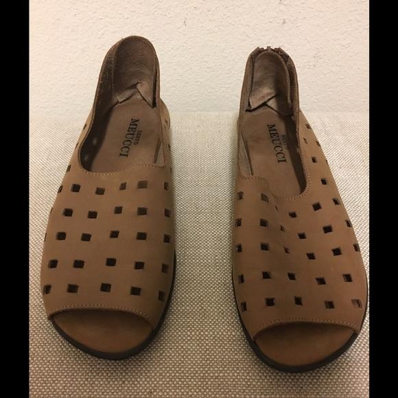 Sesto Meucci Black Nubuck Leather Evonne Open Toe Shoe New Italy Made
