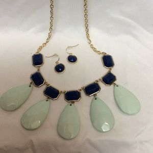 bk Jewelry - Blue mint green drop gold necklace set new