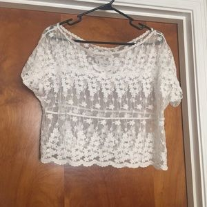 White short sleeve lace sheer scalloped crop top