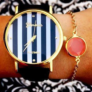 Black Leather Band stripe Watch + Bracelet bundle