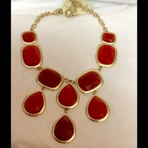 Orange gold statement necklace new