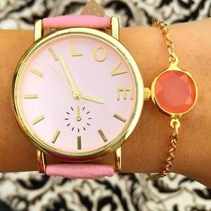 Pink Leather Band Watch Gold Bangle Bracelet Combo