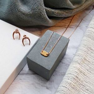 Baublebar Jewelry - Tiny Rose Gold Short Dog Tag Necklace