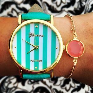 Leather Band Stripe Face gold watch & Bracelet