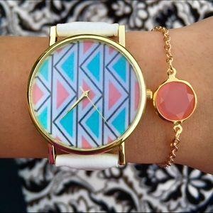 White Leather Band printed Watch + Bracelet bundle