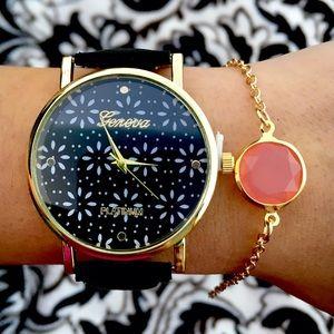 Black Leather Band Floral Print Watch + Bracelet