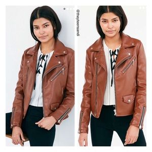 Urban Outfitters Vegan Leather Scuba Moto Jacket
