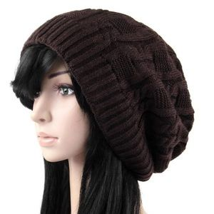 Accessories - Brown slouchy knitted hat beanie