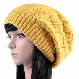 Accessories - Yellow knitted slouchy hat beanie