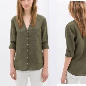 Zara green linen button down