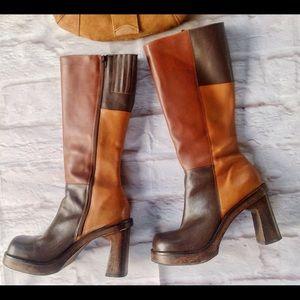 TWO LIPS Shoes - COLOR block retro LEATHER platform BRAZIL BOOT 8.5