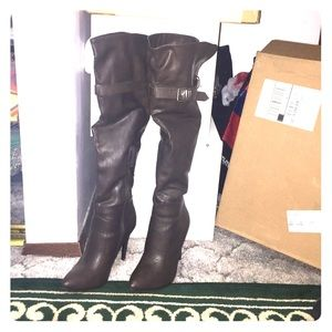 Knee high dark brown boots