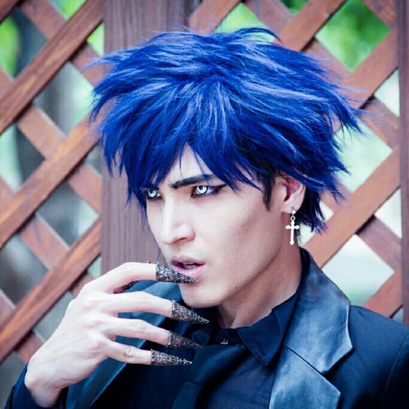 Hot Topic Accessories Blue Anime Boy Cosplay Dark Wig Manga Style