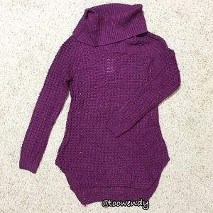 Rue21 Purple Waffle Turtleneck Tunic Sweater