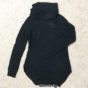 Rue21 Black Waffle Turtleneck Tunic Sweater