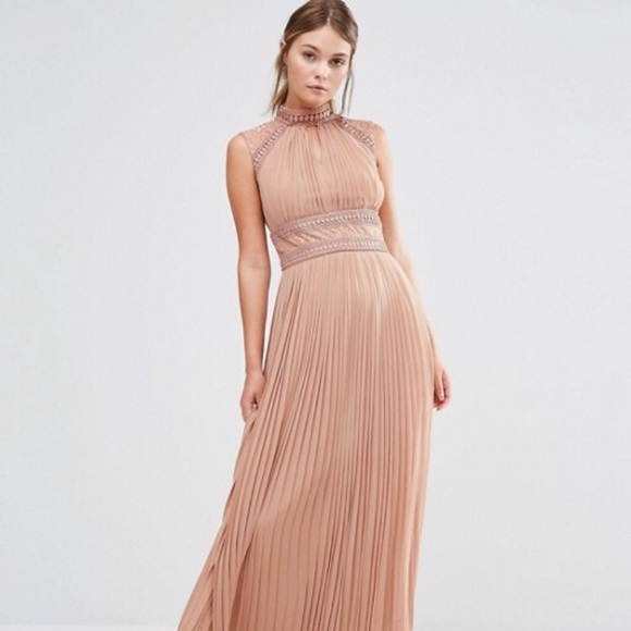 aaf13db90dd ASOS Dresses   Skirts - TFNC WEDDING Pleated Maxi Dress with Lace Detail