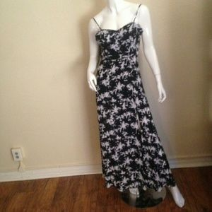 Black and White Palm Tree Print Summer Dress