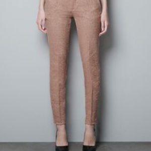 Zara Woman Camel Satin Print Trouser Pants