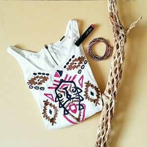 Poof Embroidered Aztec Tank