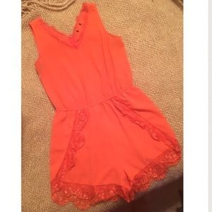 Gorgeous Orange Lace Romper -SZ: Medium