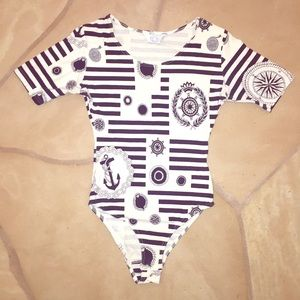 chic vintage stripe Nautical leotard romper onesie