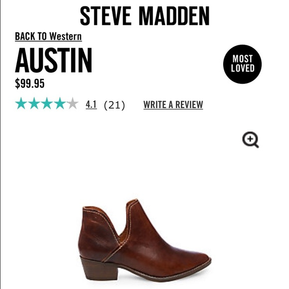 NWT Steve Madden Austin Cognac Leather Booties 8.5
