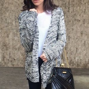 Black and White Open Knit Cardigan