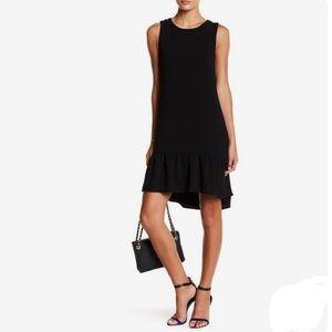 Black sheer lined ruffle dress sz Small