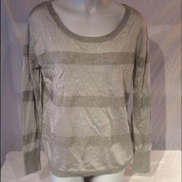 4914ceb7fa Haute Hippie Gray   Silver Sparkle Stripe Sweater