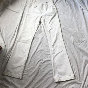 "Gap Maternity white jeans. ""Long and lean"""