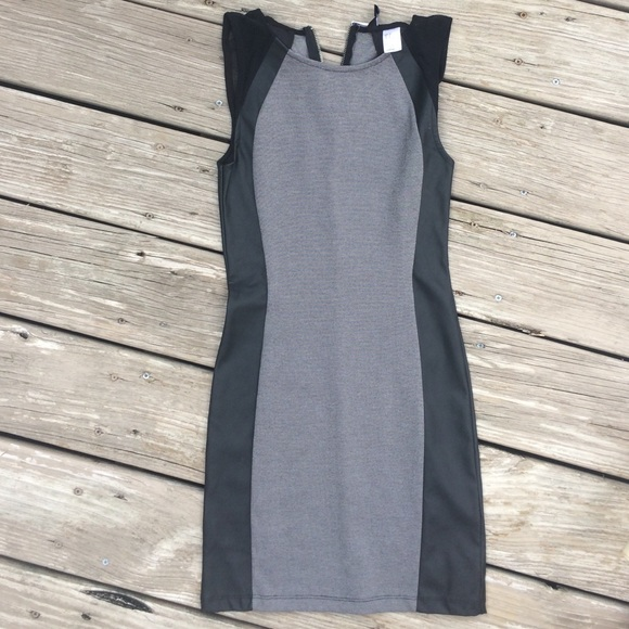 Hm Dresses Black Gray Hm Bodycon Dress With Leather Poshmark